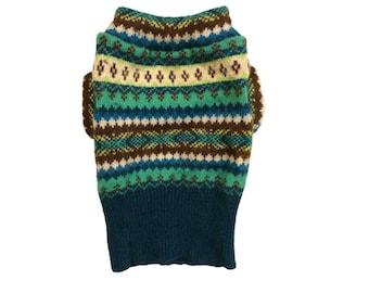 Designer Dog Sweater, X Small Super Soft Teal Fair Isle Angora Blend, Pet Puppy Apparel Clothes 0043