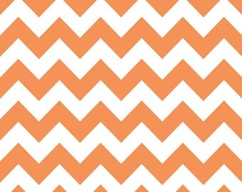 18 x 40 LAMINATED cotton fabric remnant FLAWED (similar to oilcloth) - Orange chevron - Approved for children's products - diy splat mat