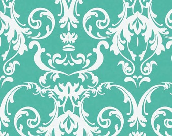 1/2 yard LAMINATED cotton fabric (similar to oilcloth) - 18 x 40 - Damask Teal Halle Rose - Approved for children's products - washable