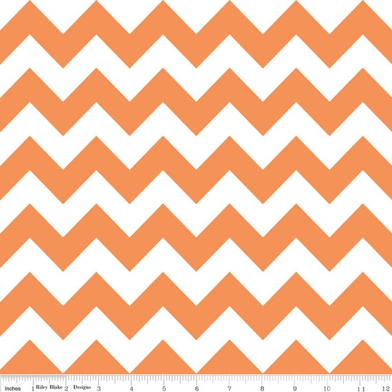 LAMINATED coton fabric (aka oilcloth coated wipeable fabric) by the yard - Orange chevron yardage
