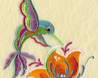 Rosemaling Hummingbird Embroidered Flour Sack Hand/Dish Towel