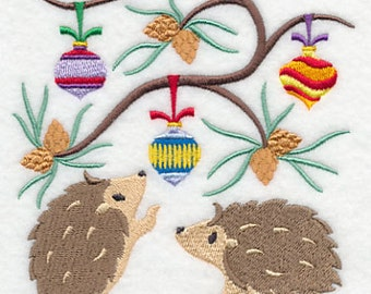 Deck the Halls Hedgehogs Embroidered Flour Sack Hand/Dish Towel