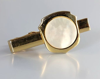 Mother of Pearl Tie Clip Bar clasp, Vintage Mens Wedding jewelry signed Foster