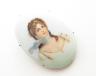 Large Antique Limoges Porcelain Portrait Brooch - Queen Louise of Prussia