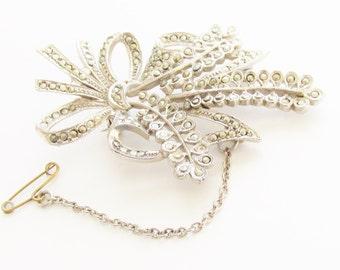 Art Deco Vintage Marcasite Rhinestone Brooch Jewelry