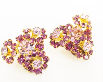 Vintage Pink Magenta Rhinestone Flower Earrings signed Austria