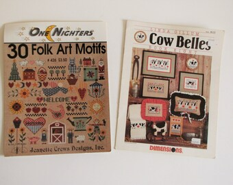 Cross Stitch Books Patterns Leaflets - lot of 2 - Cow Belles - Folk Art