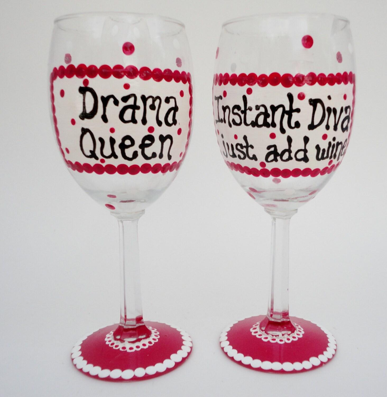 Painted Wine Glasses Pink Funny Wine Glasses Diva Drama