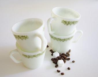 Vintage Pyrex Mugs, Crazy Daisy, Green Spring Blossom Pattern, Set of 4, Green White, Pyrex, Milk Glass Mugs, Mug Set, Green Flowers, Pyrex