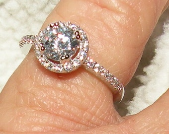 14kt Halo Engagement Diamond and White Sapphire Ring