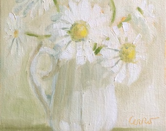White Daisies • Oil Paintings • Original Art • Oil Painting • Daily Painter • Daily Painting • White Daisy