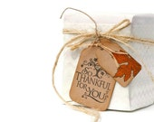 Thanksgiving gift tags. So Thankful for You double kraft hang tags with autumn leaf motif. Give thanks natural raffia tags | Best Seller
