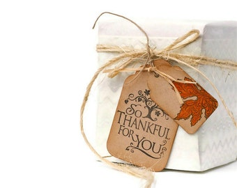 READY TO SHIP | Thanksgiving gift tags. So Thankful for You double kraft hang tags with autumn leaf motif. Give thanks tags | Best Seller