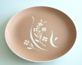 Peach Harkerware Dinner Plate with Springtime Flowers  Apricot Glaze Round Plate from The Back part of the Basement