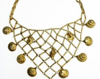 YSL Yves Saint Laurent Seashell Bib Necklace