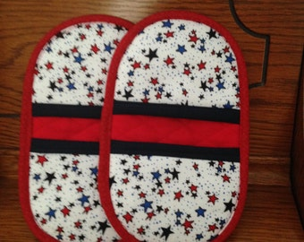 Mini Microwave-Oven Mitts-Pinchers-Red, White, & Blue w/Red Trim-Free Shipping