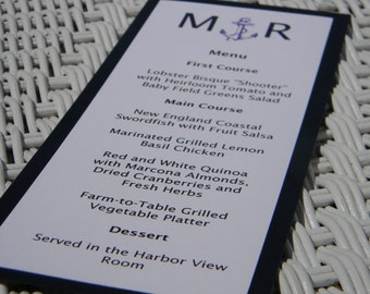 Nautical menu with navy blue backing