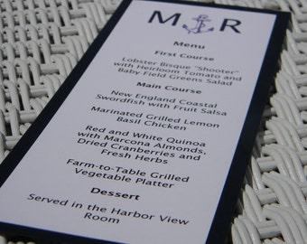 Nautical menu with navy blue backing