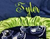 Personalized Minky and Fleece Seattle Seahawks baby blanket