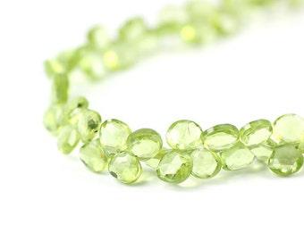 Peridot Micro Faceted Heart Briolettes 4 Kiwi Grass Green Semi Precious Gemstone color