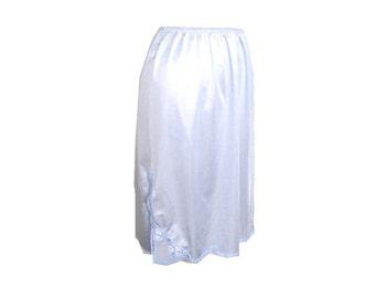 Skirt Slip Satiny Light Blue Embroidered Size Medium