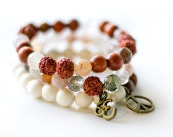 Peace, OM Bracelet Stack, Wrist Mala Beads, Wood Bracelet, Rudraksha Seed Bracelet, Quartz, Yoga Jewelry