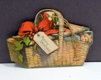 Christmas Ornament Double Sided Cardboard Paper Litho Basket USA C 1900s