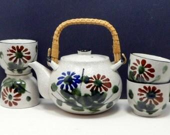 Sale Teapot Tea Cups Tea Set Armbee Japan Hand Painted Enamel Vintage 1960s Asian