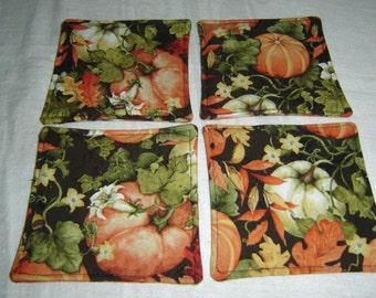 Autumn fall fabric coasters w/pumpkins/leaves/flowers, handmade, set of 4, reversible, drink coasters, hostess gift, mug rug, under 10