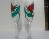 Red Rose  Bud  design champagne flute glasses set of two Hand Painted-  Valentine day gift -  wedding glasses