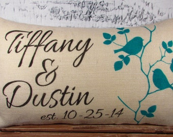 Birds on a branch personalized burlap pillow with Name/Names and established date - 12X20 -  lumbar - wedding gift - decor