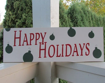 Personalized Christmas - holiday wood sign - Happy Holidays sign with ornaments - colors of your choice