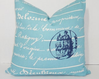 "Blue French Script Pillow Penmanship ""As featured in April issue of Coastal Living Magazine"" 18x18"