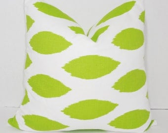 Decorative Chartreuse Pillow Throw Pillow Covers Lime/White Green Ikat Pillow Cover All Sizes
