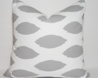 Grey & White Ikat Chipper Pillow Cover Decorative Pillow Cover Grey Ikat Choose Size