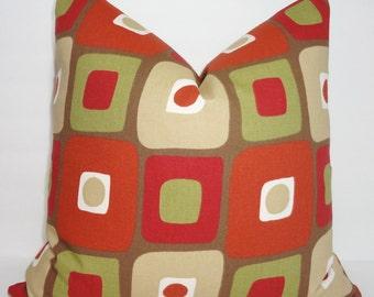 Illusions Geometric Print Pillow Cover Brown Rust Green Geometric Squares Decorative Pillow Throw Pillow 18x18