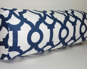 Navy Blue & White Geometric Bolster Pillow Decorative Pillow Neck Roll 9x22