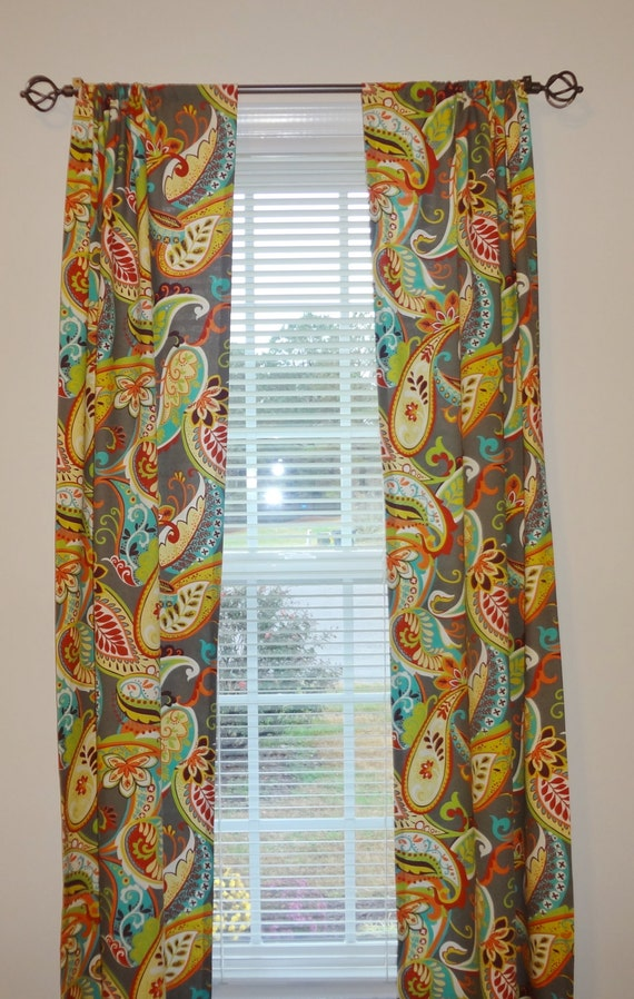 curtains etsy curtain panels paisley whimsy grey turquoise orange green blue my favorite black. Black Bedroom Furniture Sets. Home Design Ideas