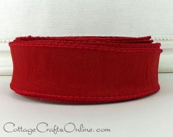 "Wired Ribbon, 1 1/2"" Red Faux Silk, THREE YARDS  - Offray Ribbon ""Anisha"" Scarlet, Christmas, Valentine, Patriotic Craft Wire Edge Ribbon"