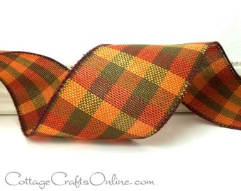 "Fall Plaid Wired Ribbon, 2 1/2"", Dark Orange, Olive Green, Cranberry - FOUR & 1/4 YARDS - ""Knit Plaid No. 402"", #70203  Thanksgiving Ribbon"