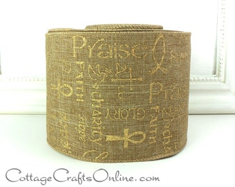 """Christmas Wired Ribbon  4"""" wide, Faith, Hope, Charity Script Print, TEN YARD ROLL, d. stevens, Gold Glitter on Natural Wired Edge Ribbon"""