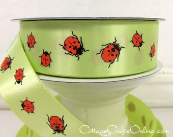 "SALE! Ribbon, 1"" wide, Red Ladybugs on Light Green Satin  - THREE YARDS - Offray ""Ladybug"" #618 Hairbow, Craft Satin Ribbon, Sewing Trim"