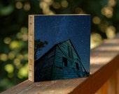 Starry Night bamboo block, ready to hang, stars, night, decor, wall art, barn, kansas, wood, photo, print, sky, night, living room, midwest
