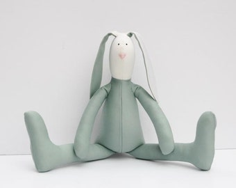 Stuffed bunny rabbit hare softie plush bunny white olive green cloth doll child friendly toy Easter bunny
