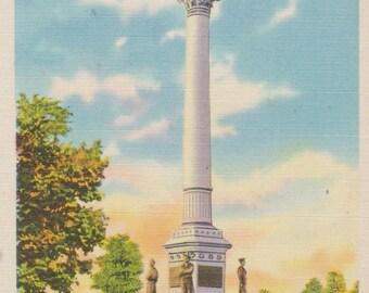 Penn Common, York, Pennsylvania, Soldiers and Sailors Monument - Linen Postcard - Unused (YY)