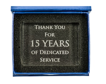 15 Year Anniversary Crystal Paperweight Gift With Happy 15th