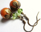 Orange Pumpkin Earrings - Gifts for Her - Halloween - Thanksgiving - Fall - Under 10