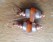 Antique European Opalescent Glass, Ethiopian Copper, and Vintage Amber Beaded Earrings - Handmade Lavender Enamel