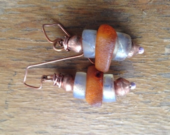 Antique European Opalescent Glass, Ethiopian Copper, and Vintage Amber Beaded Earrings - Handmade Lavender Enamel