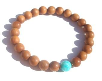 sandalwood & russian amazonite mala bracelet. also in women's size